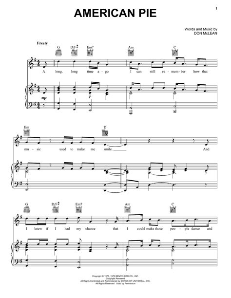 guitar tutorial american pie american pie sheet music by don mclean piano vocal