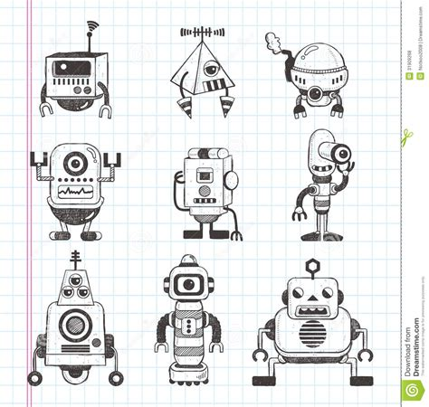 doodlebug drawing robot set of doodle robot icons stock vector illustration of