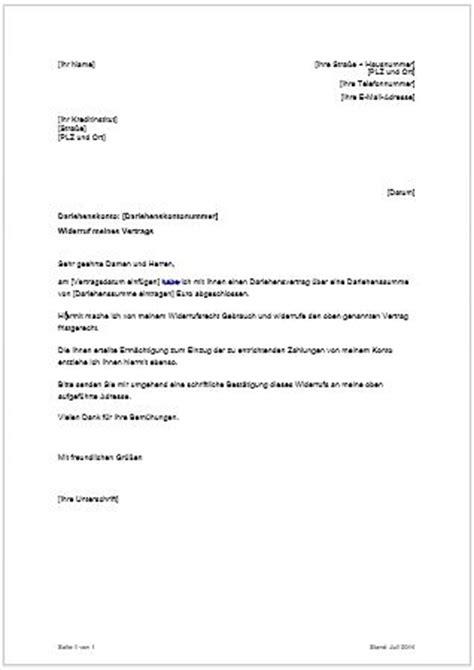 Reklamation Urlaub Brief Widerruf Kreditvertrag Widerrufsrecht Bei Darlehen Kreditwiderruf Musterschreiben Finanztip