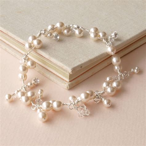 braut armband abigail pearl and crystal cluster bridal bracelet by