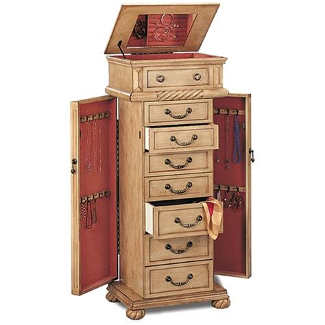 Hardwood Jewelry Armoire by Coaster 5557 Beige Wood Jewelry Armoire A Sofa