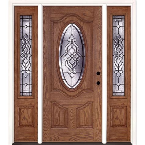 Exterior Doors With Sidelites Feather River Doors 63 5 In X 81 625 In Lakewood Patina 3 4 Oval Lite Stained Walnut Oak