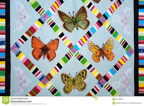 Patchwork Photo Quilt by Patchwork Quilt With Butterflies Royalty Free Stock Photo