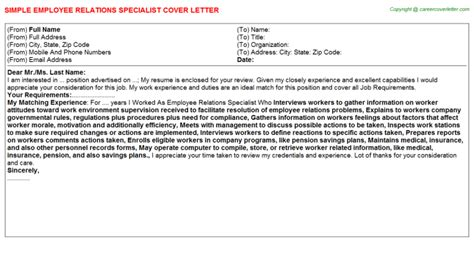 Employee Relations Specialist Cover Letter by Employee Relations Specialist Cover Letter Job100948
