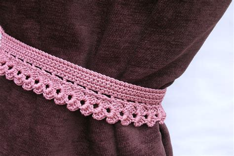 crochet curtain tie backs crochet curtain tie backs curtain holders dark pink curtain