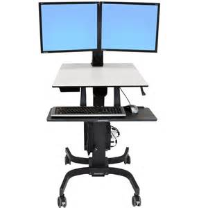 Sit Stand Computer Desk Sit Stand Cart Ergotron 24 214 085 Workfit C Dual Monitor