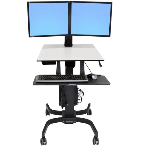 Sit Stand Computer Desk Sit Stand Cart Ergotron 24 214 085 Workfit C Dual Monitor