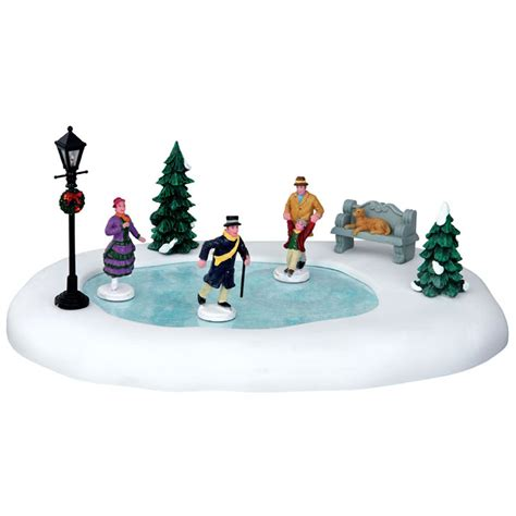 lemax skating in the park table accent set of 8 44768