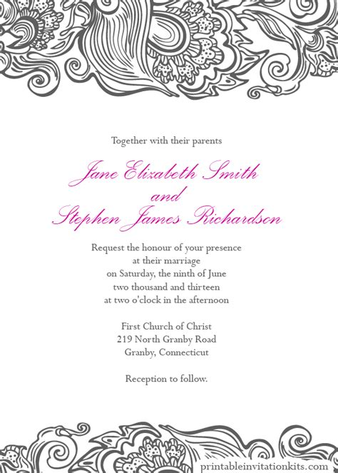free printable invitation border templates free wedding pdf downloads deco border wedding invitation