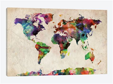 world cities map canvas world map urba watercolor ii print by michael tompsett