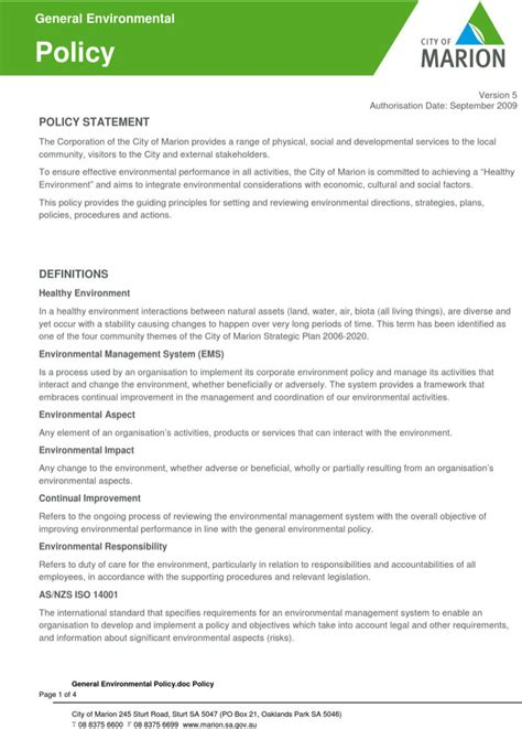 design for environment guidelines pdf environmental policy templates download free premium
