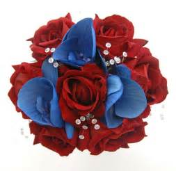bridesmaids wedding flowers in large red roses amp blue silk orchid sarah s flowers