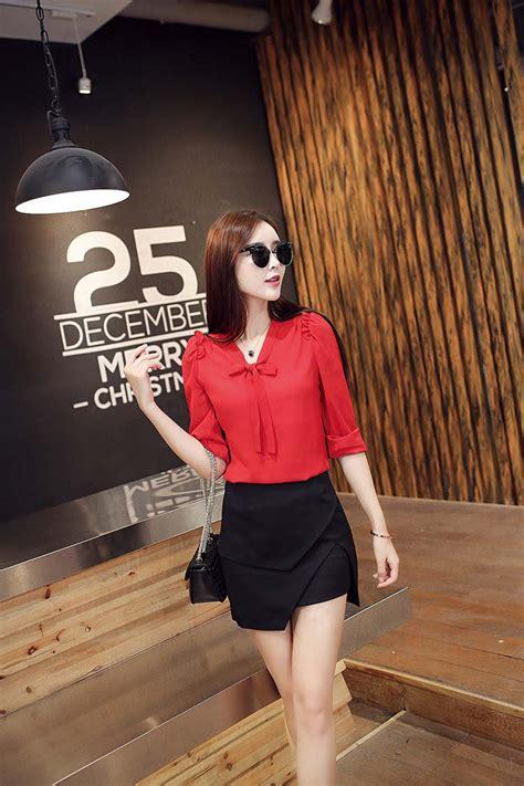 Dc Korean Style Lengan Panjang kemeja merah korea lengan panjang model terbaru jual