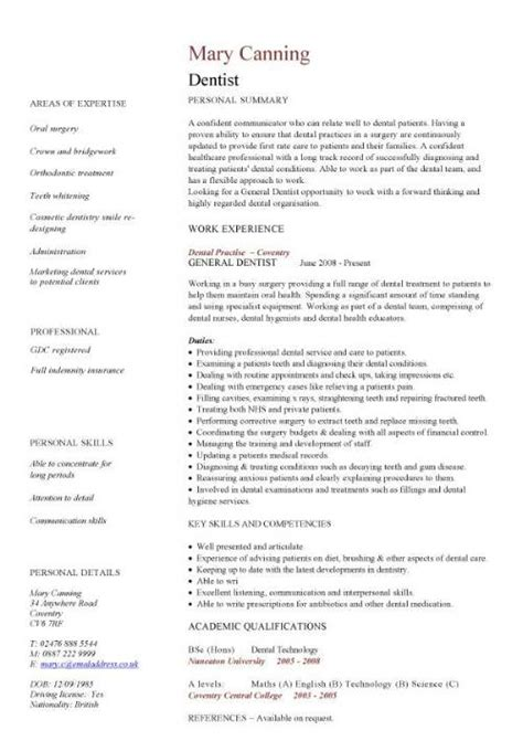cv template for doctors dentist cv sle cleaning filling extracting and