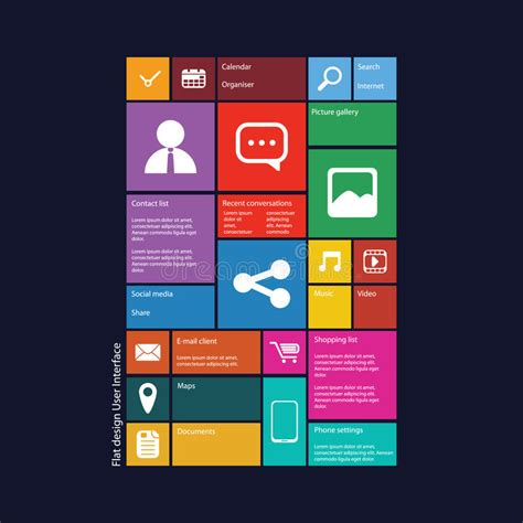 flat layout photography flat design graphic user interface royalty free stock