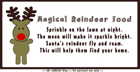 magic reindeer food recipe poem printable oatmeal
