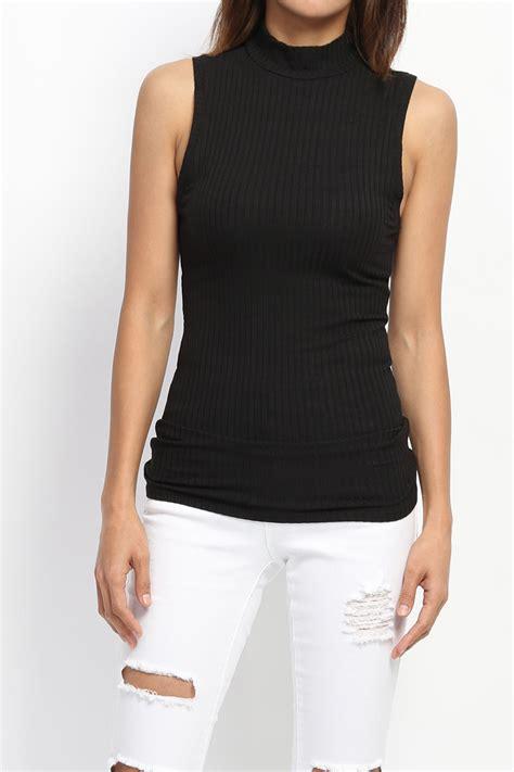 Plain Turtleneck Tank Top Standard Size themogan s bibbed knit mock neck tank top sleeveless
