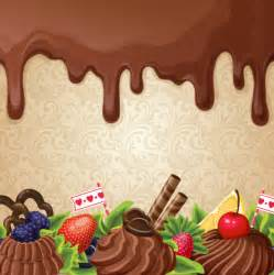 chocolate with dessert sweets vector background 02