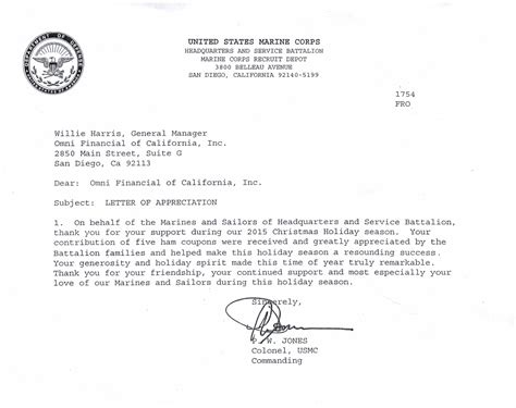 letter of appreciation exles usmc omni loans 174 in san diego ca