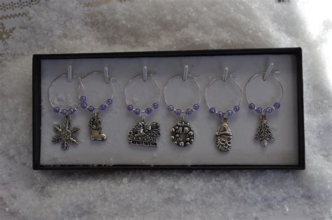 wine glass charms with gift box personalised