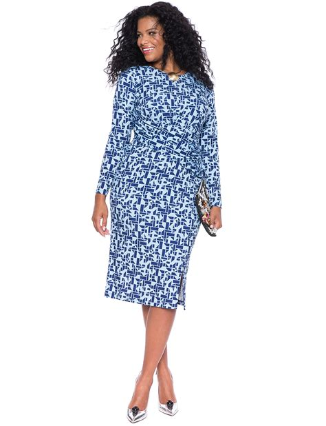 printed front wrap dress s plus size dresses eloquii