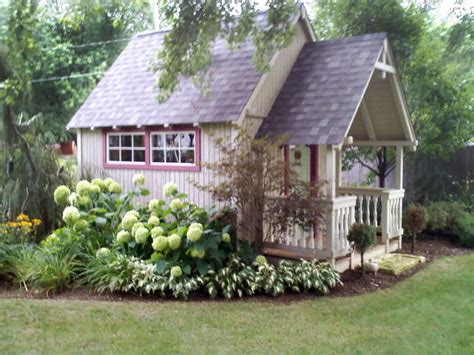 ash tree cottage landscaping around the potting shed