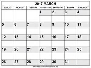 free printable march calendar 2017