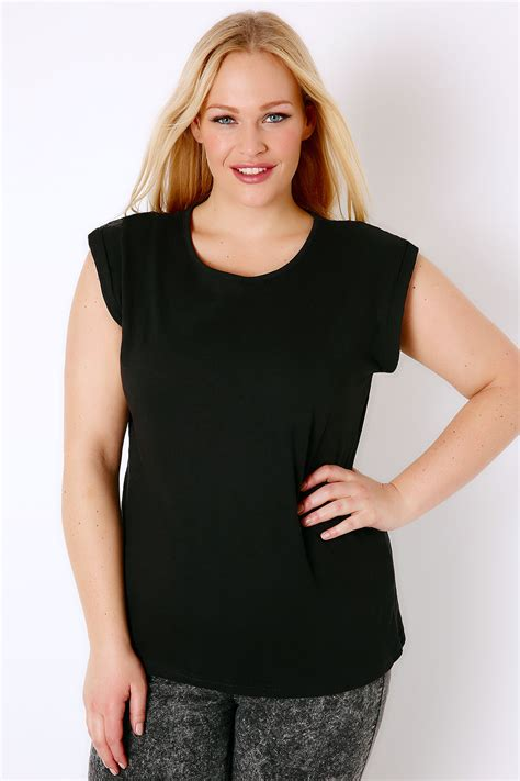 Black Basic Shirt black basic t shirt with turn back sleeves plus size