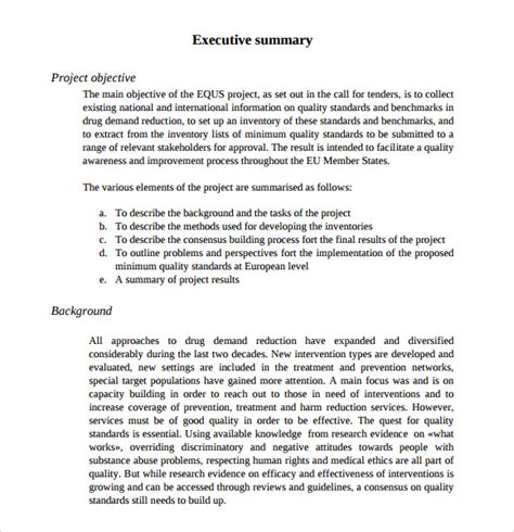 executive summary report template free sle executive summary template 8 documents in pdf