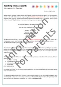 Childminder Assistant Employment Pack Mindingkids Privacy Policy Template For Schools