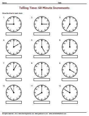 clock worksheets on the hour telling time worksheets for kindergarten free telling