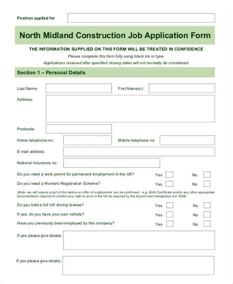 construction employment application template blank application 8 free word pdf documents