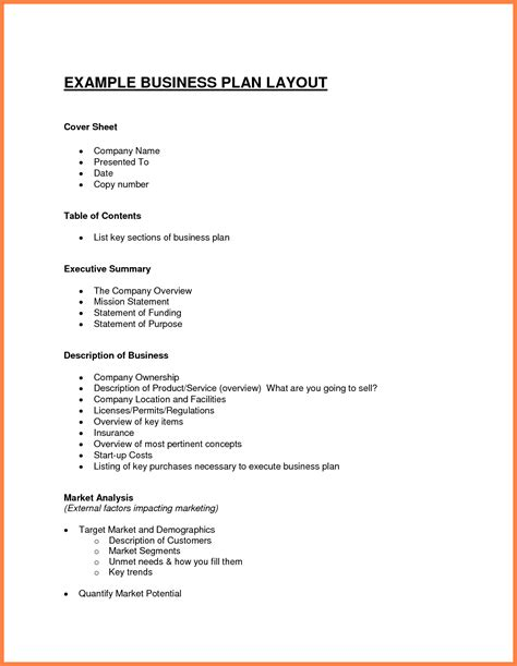 8 exle of a business plan layout bussines proposal 2017