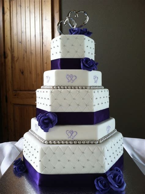 two hearts themed purple and silver hexagon wedding cake cakecentral