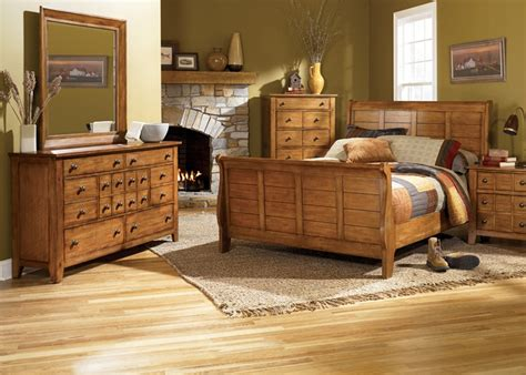 liberty furniture bedroom set grandpa s cabin sleigh bed 6 piece bedroom set in aged oak