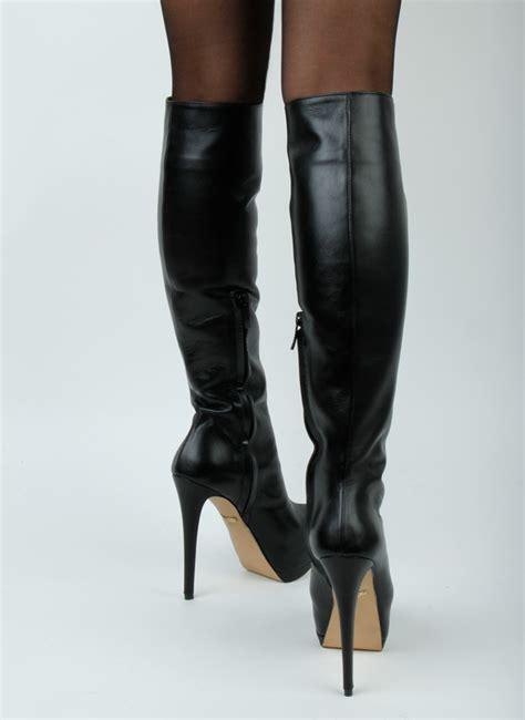 high size boots black leather platform pasha