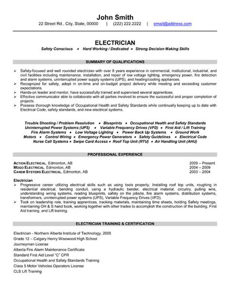 Certified Electrical Engineer Sle Resume by Electrician Resume Templates Vasgroup Co