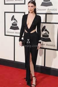 bella hadid long sleeve cutout black evening dress