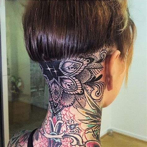 back of head tattoo 24 mandala neck tattoos