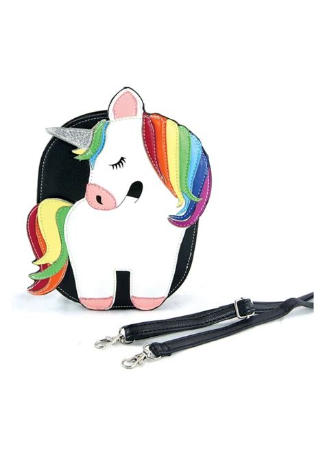 20507 Black Backpack rainbow unicorn shoulder bag attitude clothing