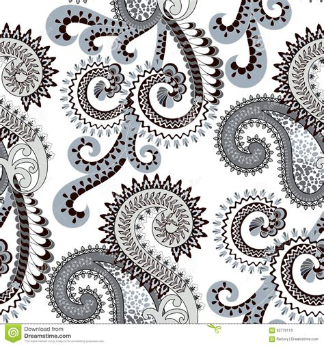 seamless pattern pale gray turquoise curls seamless pattern with paisley decorated stock photo