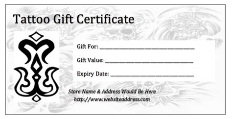 tattoo gift card gift certificate template pdf