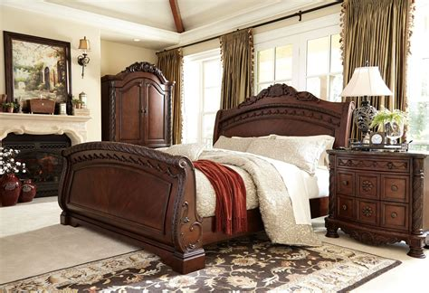 sleigh bedroom furniture sets north shore sleigh bedroom set from ashley b553