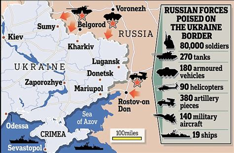 russia map borders russian army masses troops and missile launchers on