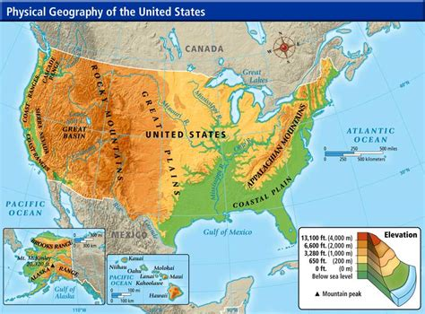 map usa geographical united states geography map