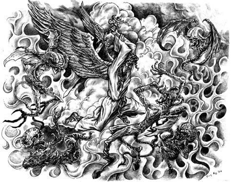 demon angels fight tattoo design tattooshunt com