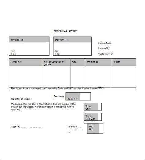 proforma invoice template free download free proforma invoice