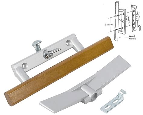 patio door wood aluminum keyed lock handle set