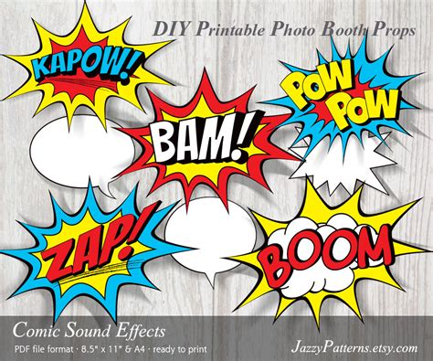 comic effects and serious themes in pride and prejudice diy comic book sound effects printable photo booth props