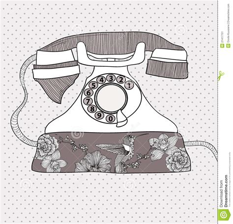 html input telephone pattern retro telephone with flowers and birds pattern stock image